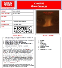 Opera Sauvage UK Remaster CD Press Sheet